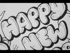 How To Draw Happy New Year In Bubble Letters