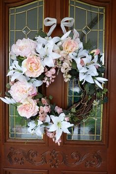 elegant wreaths | Spring/Summer Wreath - Elegant peace rose an Lily Wreath - Front door ...