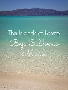 Turquoise water & empty white sand beaches on Coronado Island, Baja California, Mexico.