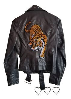 Vegan Leather Tiger Patch Moto Jacket Boy Outfits, Dress Outfits, Dresses, Logo Samples, Lost Boys, Faux Leather Jackets, Moto Jacket, Vegan Leather, Zip Ups