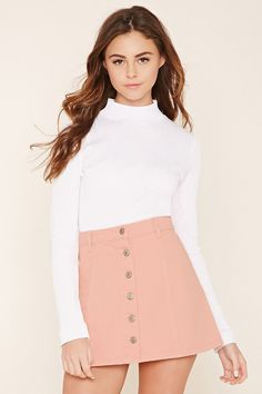 See this and similar Forever 21 mini skirts - A denim skirt featuring a button-front, belt loops, and mini length. Girly Girl Outfits, Kids Outfits Girls, Cute Casual Outfits, Teenager Outfits, Stylish Outfits, Cute Summer Outfits, Outfit Summer, Girls Fashion Clothes, Teen Fashion Outfits