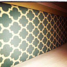 """I made this head board for our California king bed. 1/2"""" press board from Home Depot, 2"""" foam, and upholstery fabric. Viola!"""
