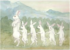 Original Watercolor Rabbit Painting - Bunny Train