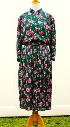 Vintage 70s Pink Floral Shirt Dress with Mandarian by TheRubyOlive, $35.00