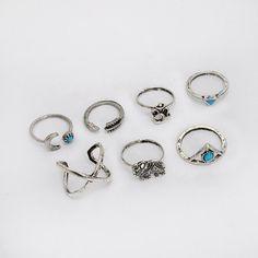 Vintage Boho 7-Piece Ring Set