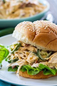 ****Instant Pot Jalapeno Popper Shredded Chicken - We both enjoyed it, & the crunch of the bacon really made this meal! I halved the recipe & used 1 jalapeno & subbed in more broth instead of pickled jalapenos & juice. Shredded Chicken Sandwiches, Slow Cooker Shredded Chicken, Shredded Chicken Recipes, Healthy Chicken Recipes, Healthy Tips, Vegetable Recipes, Healthy Meals, Easy Meals, Jalapeno Poppers