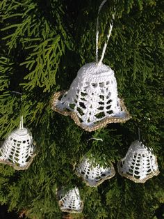 Set of 5 Christmas Tree Decoration - Crochet white hanging gold bells ornaments for Holiday decor. by 3DArhitect on Etsy
