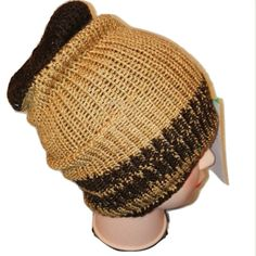 RETRO gold brown colour mix Handmade beanie hat double knit extra thick ski snowboard garden one size unisex wool  Many colours available    ALL ITEMS HANDMADE BY LITTLE OLD ME :D Can be made to order with same day dispatch Feel free to message me anytime