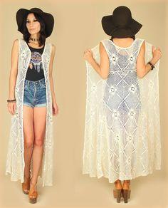 ViNtAgE CROCHET SHEER Maxi VEST Dress hippie gypsy rocker S
