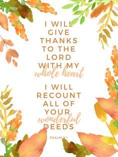 FREE Printable Watercolor Scripture Art - A Generous Grace™ Happy Thanksgiving!