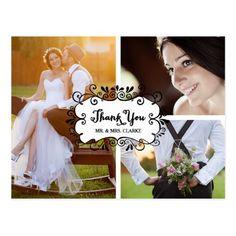 Vintage Wedding Thank You Cards Three Photo Collage Wedding Thank You Postcard