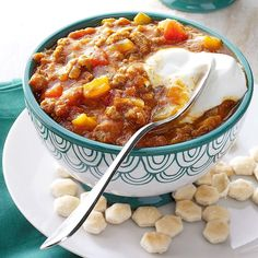 """Autumn Pumpkin Chili Recipe -We have this chili often because everyone loves it, even the most finicky grandchildren. It's also earned thumbs up with family and friends who've tried it in other states. It's a definite """"keeper"""" in my book! —Kimberly Nagy, Port Hadlock, Washington"""