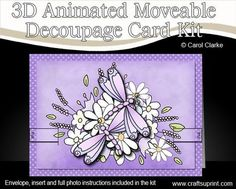 3D Dreamy Dragonflies Animated Moveable Decoupage Card Kit