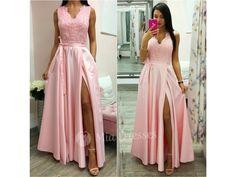 Svetloružové spoločenské šaty so saténovou sukňou - Mia Dresses 85b9d11fa5e