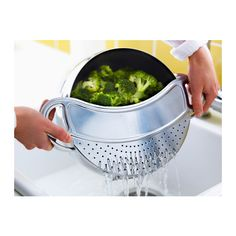 IKEA STABIL — Pot strainer, stainless steel ($4.99).   Replaces a colander and a strainer; pour out cooking water directly from the pot through the pot strainer.