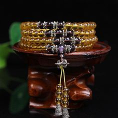 Yellow Citrine Bells Mala Bracelet