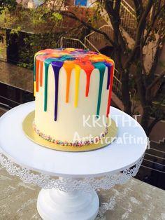 Rainbow drip cake - cake by Lavanya Kotha Art Party Cakes, Drip Cake Tutorial, Neon Cakes, Novelty Birthday Cakes, Art Birthday Cake, Buttercream Birthday Cake, Artist Cake, Rainbow Candy, Colorful Cakes