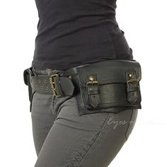 6a3345d728f EYES OF INDIA BLACK LEATHER BELT WAIST HIP BUM BAG POUCH Fanny Pack Utility  Pocket Travel