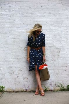 Navy with white polka dots, shirt dress with brown belt & leather sandals