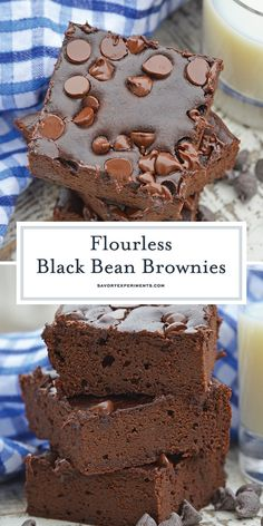 Flourless Black Bean Brownies are a delicious, fudgy gluten free brownie recipe…. Flourless Black Bean Brownies are a delicious, fudgy gluten free brownie recipe. Healthy brownie recipes have never tasted this good! Köstliche Desserts, Gluten Free Desserts, Delicious Desserts, Healthy Gluten Free Recipes, Healthy Sweets, Healthy Baking, Chocolate Chip Cookies, Raisin Cookies, Chocolate Chips