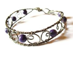 Gothic Victorian Jewelry Wire Wrapped Bracelet by DistortedEarth, $38.00