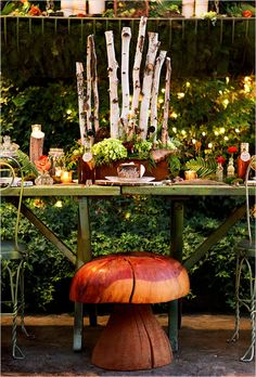 For a truly magical woodland/rustic/whimsical wedding, choose unique, fun, and imaginative touches like this toadstool. (From Woodland Wedding Decorations) Check out the website for Woodsy Wedding, Whimsical Wedding, Ethereal Wedding, Wedding Reception, Cottage Wedding, Ballroom Wedding, Rustic Weddings, Wedding Vintage, Garden Wedding