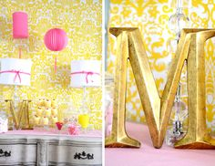 Pink and Yellow party polystyrene numbers 21