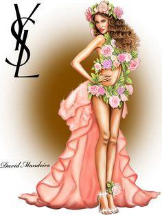 Laetitia Casta in Yves Saint Laurent Haute Couture Spring 1999 Digital Drawing by David Mandeiro Illustrations