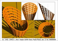 CAD/ Tav. 5 اللوحة 5: النمذجة على أسطح مخروطية نمذجة مخروط K مفرغ من خلال ترك سمك معين  d  - قطع K بمستوى مائل الفا  بعد موضغة المخروط في الفضاء، الحفاظ على عدد معين من الرواسم (بسمك  D/2) بعد  العودة إلى الاسقاطاث العمودية، نمذجة نسخة أخرى من مخروط K ومن ثم الحفاظ على مقاطع اهليجية الشكل  (بسمك  D/2) بخيث تكون موازية للمستوى الفا اخراج اللوحة  كما هو مبين في الصورة المرفقة