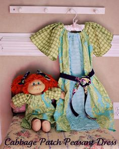 Cabbage patch doll peasant dress tutorial-love the use of the ruffled material as an insert