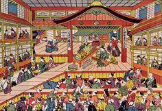 Cena de uma peça, [Shibai Ukie], c. 1740 [Teatro Edo Ichimura-za] Masanobu Okumura (Japão 1686-1764)