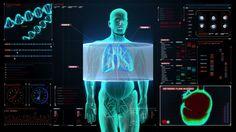 Scanning body. Rotating Human lungs, Pulmonary Diagnostics in digital display dashboard. Blue X-ray light. - HD stock video clip