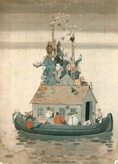 'Spring Cleaning in Noah's Ark' William Heath Robinson, 1925
