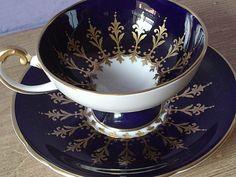 Antique Aynsley blue and gold tea cup set English por ShoponSherman