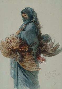 The Athenaeum - An Egyptian Woman Carrying a Brace of Chickens, Cairo, Guido Bach, 1876