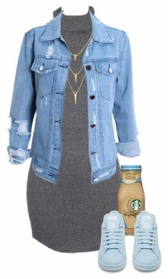 Vestido + Chaqueta de Jean + Zapatillas  Dress + Jean Jacket + Sneakers