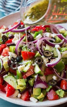 Best Greek Salad {with Avocado!} – Cooking Classy Best Greek Salad {with Avocado!} – Cooking Classy,helth Greek Salad – this is the BEST Greek Salad! So easy to make, it's packed with veggies (love. Best Greek Salad, Greek Salad Recipes, Salad Recipes For Dinner, Dinner Salads, Healthy Salad Recipes, Vegetarian Recipes, Cooking Recipes, Greek Cucumber Salad, Cheese Recipes