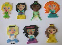 Disney Princesses made from Perler Beads by tiffanysobears on Etsy