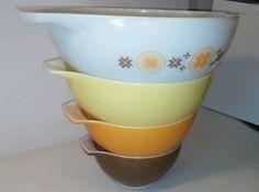 Pyrex Cindarella Mixing Bowls Town & Country Brown Orange Yellow 441 - 444 Good #Pyrex