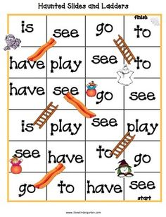 Sight Word Game MONSTERS AND PUMPKINS KINDERGARTEN LITERACY AND MATH ACTIVITIES - TeachersPayTeachers.com