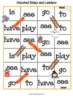 Sight Word Game MONSTERS AND PUMPKINS KINDERGARTEN LITERACY AND MATH ACTIVITIES - TeachersPayTeachers.com