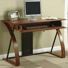 Office Star Aurora Computer Desk in Medium Oak Finish and Black Accents Home Office Desks, Home Office Furniture, Furniture Risers, Furniture Design, Buy Office, Office Nook, Furniture Online, Bedroom Office, Furniture Outlet