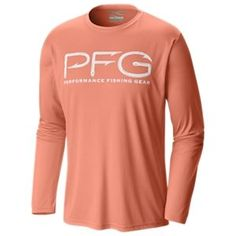 Columbia Terminal Tackle PFG Hooks Long-Sleeve Shirt for Men - Bright Peach/White Logo - 2XL