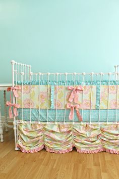 This is the style of crib bedding for our pink and grey nursery. By LottieDaBaby on Etsy -- shop owner is amazingly talented! Fabric I'm using will be pink and white floral pattern with grey accents.