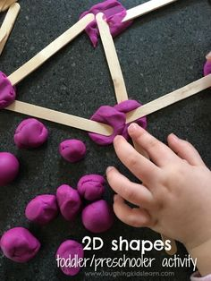 shape activity using craft sticks and play dough Great for preschoolers homeschoolers or those children attending a school Basic mathematics and introduction to STEM type activities 2d Shapes Activities, Playdough Activities, Learning Shapes, Preschool Learning Activities, Toddler Learning, Toddler Preschool, Toddler Crafts, Toddler Activities, Preschool Activities