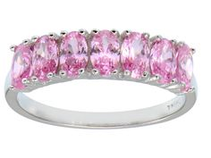 Bella Luce(R) 2.45ctw Oval Pink Diamond Simulant Sterling Silver 7 Stone Ring