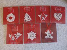 Lenox (Set of 7) Holiday Christmas Ornaments Charms:Wreath, Tree, Star, Heart, Horn, Snowflake, Gingerbread Boy