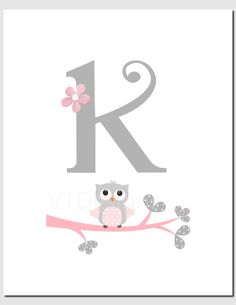 Owl Nursery Art Pink Gray Owls Initial Monogram Baby by vtdesigns Owl Nursery Decor, Baby Decor, Nursery Wall Art, Girl Nursery, Baby Monogram, Monogram Initials, Art Rose, Have A Happy Day, Gray Owl
