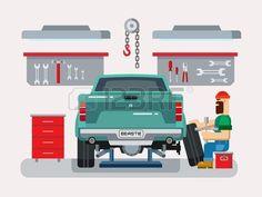 voiture fixant m canicien auto dans garage de r paration auto vecteur plate illustration Banque d'images