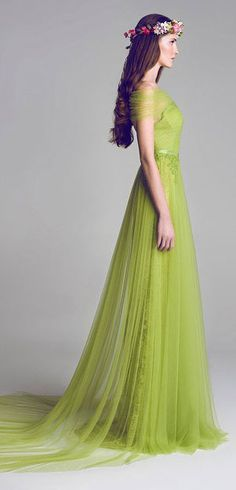 Love this... maybe not in green though...Chiffon Lace & Tulle Embellished Gown by Al Fahim of UAE